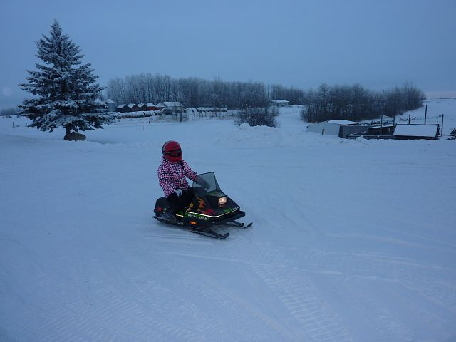 Near Greenwater Park at New Years. This is our grandaughter on a Kitty Cat.