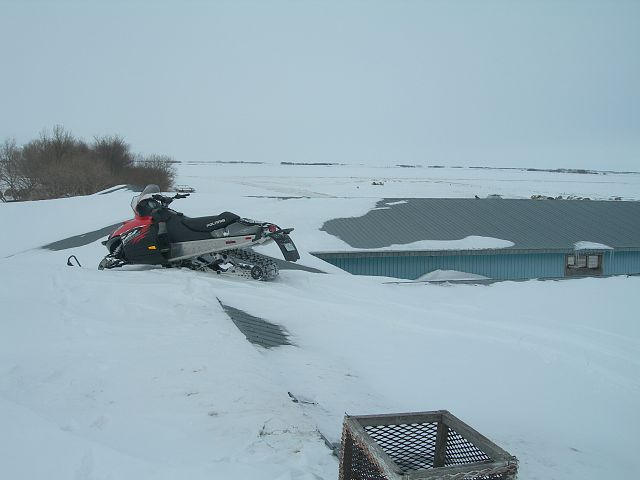 Snow has blown in around my oid hog barn. I can drive up one side and down the other.