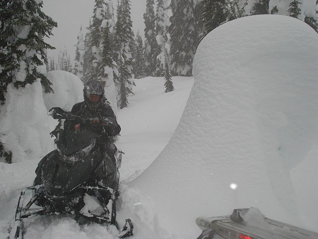 """My father beside what I was calling a """" Snow-Mushroom""""."""