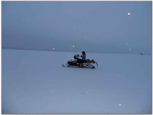 On the Lake with light snowfall