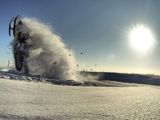 Having a little fun on my sled.