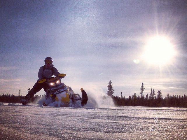 Riding in some fresh snow