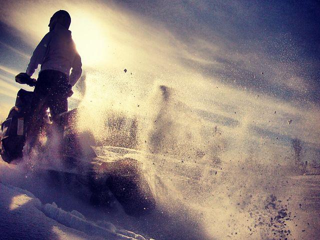 Riding off.