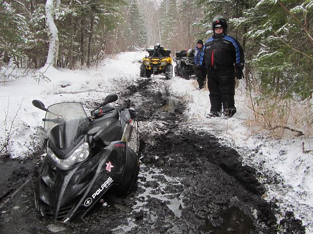He fell through the ice and needed us to tow him out with our quads.