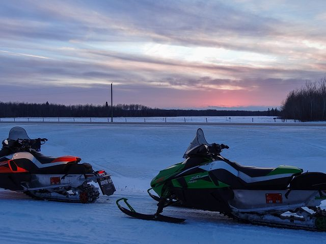 Enjoying the sunset along Interlake Snow Trackers Trail 301