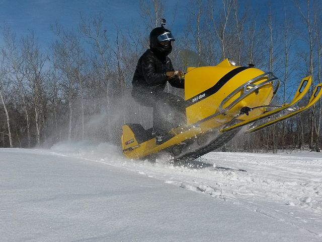 1970 ski-doo Olympique 12/3 catching a little air