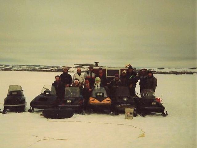1988 ice fishing trip with friends