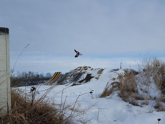 Darkside Motor rider Mike Wilson throwing down at the freestyle compound