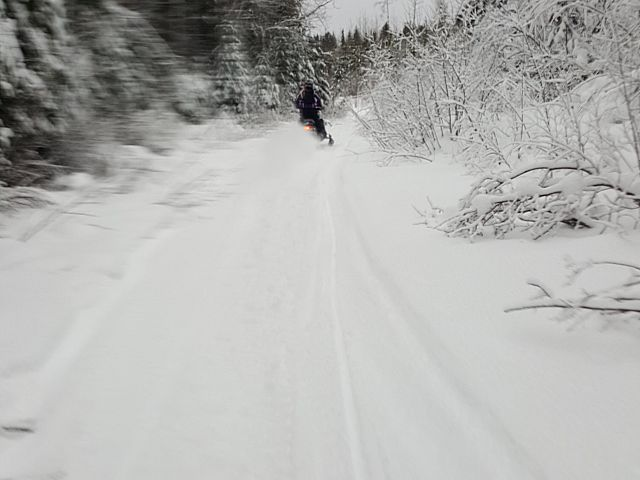Chasing my wife Carla down the trail
