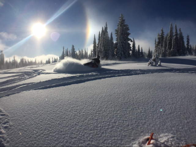 Sun dogs and pow turns