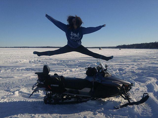 Sledding has me jumping for joy